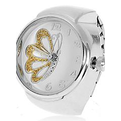 Modelo de mariposa de las mujeres de plata de la aleación del reloj del anillo de cuarzo analógico (colores surtidos)