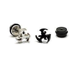 Fashion Multicolor Titanium Steel Stud Earrings(Black,Silver) (1 Pc)