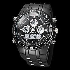 גברים שעוני ספורט קוורץ יפני LCD / לוח שנה / כרונוגרף / עמיד במים / אזור זמן כפול / אזעקה גומי להקה שעון יד שחור