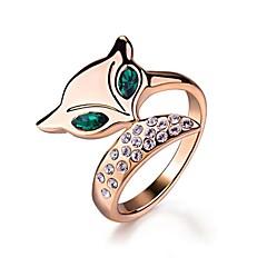 belle bague de renard des yeux verts mignon