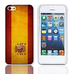 Bandeira espanhola Vintage Pattern Hard Case com protetores de tela de 3-Pack para iPhone 5/5S