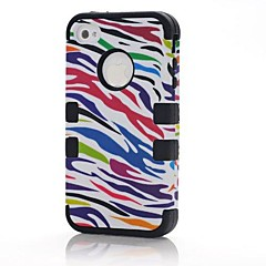 3 in 1 7 Colour Zebra Style PC and Sillcone Composite Full Body Case for IPhone 4/4S(Assorted Colors)