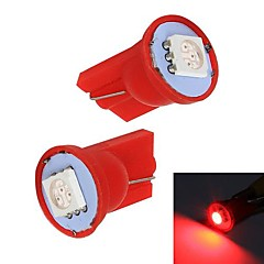 Merdia 1W 60LM T10 1x5050SMD LED Red Light Car Instrument / Brake Lamp Bulbs(Pair/12V)