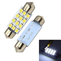 Merdia 39mm 60LM 1.8W 12x3528SMD LED White Rekisterikilpi Light / Instrument Lamppu (2 PCS/12V)
