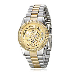 Women's Auto-Mechanical Retro Hollow Golden Dial Steel Band Wrist Watch Cool Watches Unique Watches