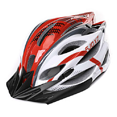 FJQXZ Unisex Outdoor PC + EPS 22 Vents Rosso + Bianco ciclismo Hlemets