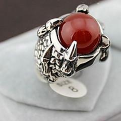 z&anillos europeo x® de dragón aleación de plata de los hombres garra ágata roja de los estados (1 pc)