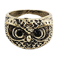 Vintage Owl Women's Black Rhinestone With Bronze Alloy Statement Rings(1 Pc)
