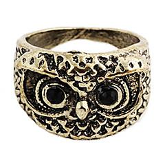 Vintage Owl Women's Black Rhinestone With Bronze Alloy Statement Rings(1 Pc)
