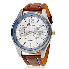 För män Round Dial Leather Band Quartz analog armbandsur (blandade färger)