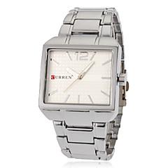 Men's Simple Rectangle Dial Steel Band Quartz Analog Wrist Watch