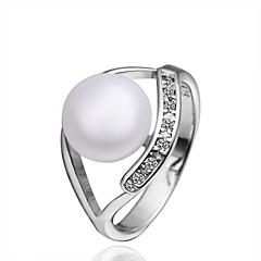 Fashion Women's White Freshwater Pearl Brass Statement Rings(1Pc)