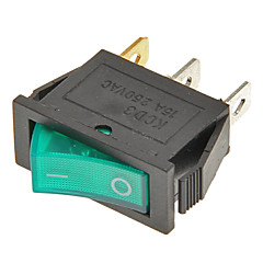 Rocker Switch 3-Pin ON / OFF (verde & preto, 6A, AC 250V/10A, AC 125V)