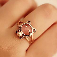 shixin® europäischen rosa Katze Muster mit Perle Frauen Elfenbeinperle midi Ringe (1 Stück)