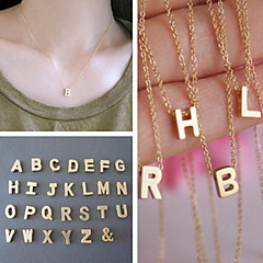 Shixin® European Simple Chain With Alphabet Gold Alloy Pendant Necklace(1 Pc)