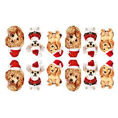 12PCS Mini Pet Dogs with Christmas Hat Pattern Luminous Nail Art Stickers