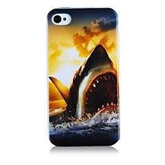 Great White Pattern Silicone Soft Case for iPhone4/4S