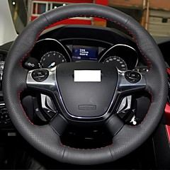 XuJi ™ Black Genuine Leather Steering Wheel Cover for 2012 2013 Ford Focus 3 Ford KUGA