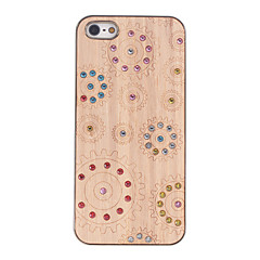 Diamond Look Gears Carved Wooden Golden PC Hard Case for iPhone 5/5S