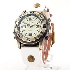 Unisexe Vintage Nombre Dial bande de cuir montre bracelet à quartz analogique (couleurs assorties)
