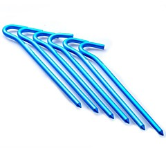 Aluminum Alloy Pegs for Outdoor Camping Tent 180mm-Blue (6 pieces pack)