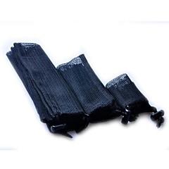 Travel Luggage Mesh Pouch Packing Bag Set Flat+Strap-Black (3 piece set)