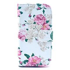 Kaunis Rose kukkakuvio PU nahkainen korttipaikka ja jalusta Samsung Galaxy S3 mini I8190