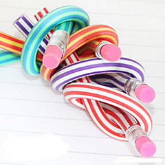 Flexible Colorful Soft Pencil with Eraser (Random Color)