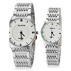 Pariskunta Simple Round Dial Stainless Steel Band Quartz Analoginen rannekelloa (Assorted Colors)