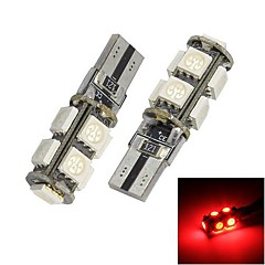 Merdia T10 9x5050SMD Red LED Error Free Canbus Car Light Bulb (12V / pair)
