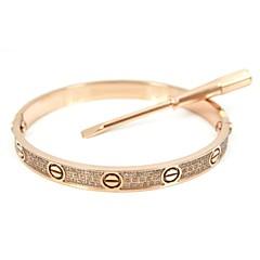 Fashion Gold/Silver/Rose Gold Screw Pattern Titanium Steel Diamond Studded Blange with Screwdriver