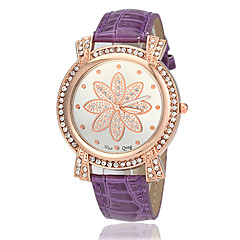 Women's Diamond Gold Case Flower Case PU Band Quartz Wrist Watch (Assorted Colors)