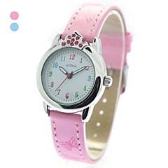 Anak Mode Kristal Crown Case PU Band Quartz Wrist Watch (Warna Aneka)