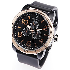 Pria Quartz Sub-Dial Dekorasi Hitam Karet Band Wrist Watch Analog