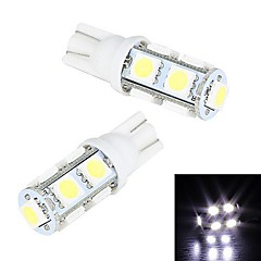 Merdia 5W 200LM T10 9x5050SMD LED hvidt lys License Plate Light / Instrument Lamp (2 PCS/12V)
