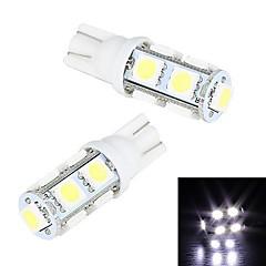 Merdia 5W 200LM T10 9x5050SMD LED lumière blanche de plaque d'immatriculation / Instrument lampe (2 PCS/12V)