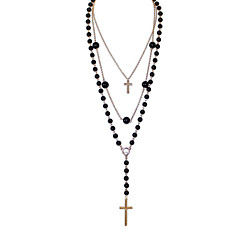 European Multilayer Black Strand Cross Long Necklace