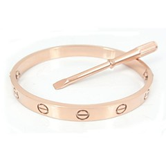 Fashion 17CM Gold Screw Titanium Steel Bangle with Same Color Screwdriver