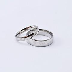 Anéis casal fashion Forever Love prata brilhante Titanium Aço