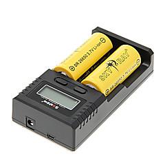 SKYRAY SR 26650 6000mAh Akku (2 Stück) + H2 Soshine Ladegerät für 26650/18650/16340 (für 2 Batterien) & Kfz-Ladegerät