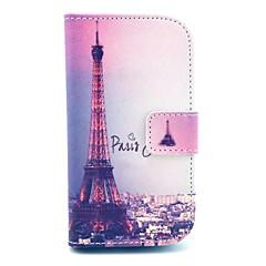 Capa de Couro Assinatura Torre Eiffel Padrão PU com slot para cartão e suporte para Samsung Galaxy S3 mini-I8190