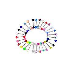 lureme®316l sebészeti titán acél + uv Köldök piercing nyelv stud (véletlenszerű szín)