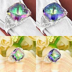 Trendy Rainbow Mystic Topaz Gemstone Silver Ring 1PC