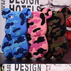 3D Cute  Camouflage  Bears Pattern Designed Silicon Soft Case for iPhone 4/4S (Assorted Colors)