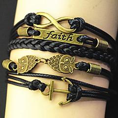 Multilayer Alloy Anchor faith owl Infinite  Charms Handmade Leather Bracelets