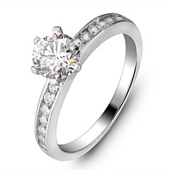 Genuine 925 Simple Classic Engagement Ring for Woman Solid 925 Sterling Silver .75Ct Wedding Ring