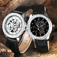 Manual de las Mujeres de la mariposa mecánica del cuero del dial del diamante del caso Negro banda reloj de pulsera (colores surtidos)