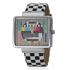 Unisexe cadran de place de modèle de grille de Pu Band bracelet à quartz analogique (couleurs assorties)