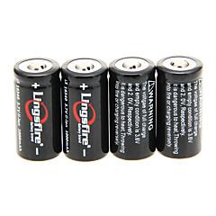Lingsfire 1000mAh 16340 Baterie (4ks) + 4 ks / Lot pevný plastový baterie přihrádka pro 16340 Baterie