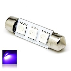 39mm 1W 3x5050 SMD LED 50lm Purple Lights Festoon Dome License Plate Light Lamp Bulb for Car (DC 12V)